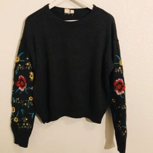 Cloth by design sweater with embroidered sleeves